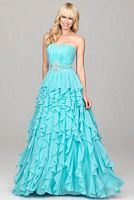 Evenings by Allure Beaded Waist Ruffle Prom Dress A510 image