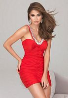 Size 4 Red Evenings by Allure Ruched Jersey Cocktail Dress A546 image