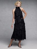 Capri by Mon Cheri Black Burnout Ruffle Evening Dress CP11131-7 image