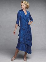 Capri by Mon Cheri Royal Blue Silk Burnout Evening Dress CP11132-1 image