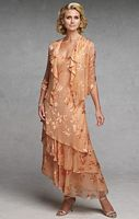 Capri by Mon Cheri Peach Silk Burnout Jacket Evening Dress CP11132-3 image
