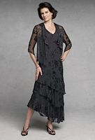 Capri by Mon Cheri Black Silk Mother of the Bride Dress CP11132-4 image