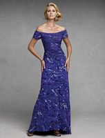 Capri by Mon Cheri Purple Print Chiffon Evening Dress CP11134-1 image