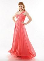 Dreamz by Riva D456 Beaded One Strap Plus Size Gown image