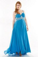 Dreamz by Riva D457 Plus Size Ruched Evening Dress image
