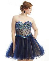 Dreamz by Riva D489 Plus Size Short Party Dress image