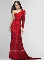 BG Haute F01022 One Long Sleeve Sequin Gown image