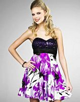 Floral Print Sequin Landa Short Homecoming Party Dress EB303 image