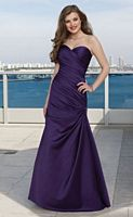 Strapless Long Satin Ruched Mori Lee Bridesmaid Dress 284 image