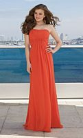 Mori Lee Strapless Empire Chiffon Long Bridesmaid Dress 285 image