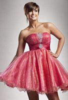 Glitter Short Homecoming Dress Riva Designs Strapless Party Dress 601 image