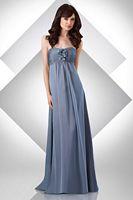 Size 10 Sky Blue Bari Jay Long Shirred Empire Bridesmaid Dress 322 image