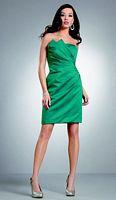 Size 16 Emerald Jordan Knee Length Draped Bridesmaid Dress 258K image