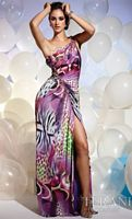 Terani Colorful Abstract Animal Print Prom Dress JP602 image