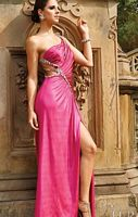 Terani Raspberry One Shoulder Prom Dress with Cutouts JP605 image