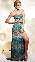 Terani Teal Print Prom Dress with Beading JP609 image