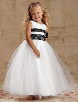 Sweet Beginnings Tulle Long Flower Girls Dress with Lace L964 image