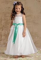Sweet Beginnings Organza Ankle Length Flower Girls Dress L966 image