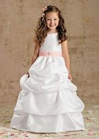 Sweet Beginnings Iridescent Tufted Long Flower Girls Dress L968 image