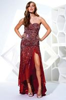 Size 4 Red Terani P1558 Chiffon One Shoulder Evening Dress image