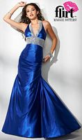 Flirt Slinky Satin Halter Prom Dress P1604 image