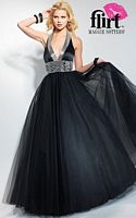Flirt Halter Satin and Tulle Prom Ball Gown P1609 image