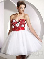 Terani Flower Tulle Short Prom Dress P195 image