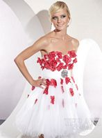 Terani Short Prom Dress with 3D Flowers P196 image