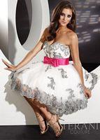 Terani White and Fuchsia Tulle Short Prom Dress P203 image