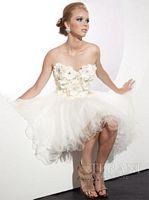 Terani Ivory Tulle Flower Short Prom Dress P204 image