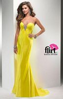 Size 0 Poppy Flirt P2779 Vibrant Flowing Chiffon Evening Dress image