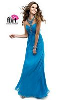 Flirt P4847 Slim Jeweled T-Back Chiffon Gown image