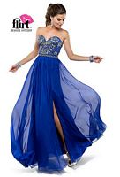 Size 14 Deep Ocean Flirt P5828 Beaded Chiffon Formal Dress image