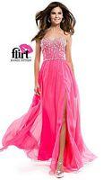Flirt P5830 Chiffon Long Dress with High Slit image