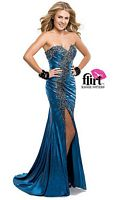 Flirt P5895 Jersey Evening Dress with Beaded Lace image