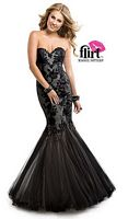 Size 6 Blue Flirt P7899 Lace and Tulle Mermaid Dress image