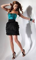 Flirt Short Homecoming Dress with Feathers PF5016 image