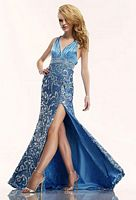 Riva R7405 Sequin V Neck Formal Dress image