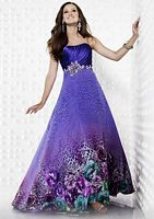 Riva Designs Purple Floral Animal Print Prom Dress R9401 image