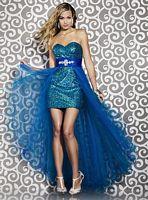 Riva Designs Aqua Strapless Prom Dress R9405 image