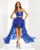 Riva R9584 High Low Sequin Organza Ruffle Party Dress image