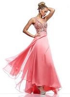 Size 6 Coral Riva R9700 Sleeveless Keyhole Back Gown image