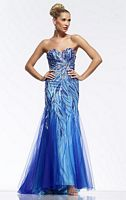 Riva Designs R9719 Beaded Net Evening Dress image