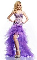 Riva R9738 High Low Lace Organza Ruffle Party Dress image