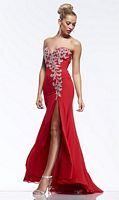 Riva R9768 Chiffon Beaded Gown with High Slit image