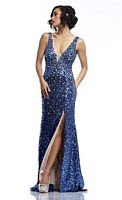Riva R9775 Sleeveless Deep V Neck Sequin Gown image