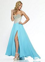 Riva R9776 Gown with Flowy Chiffon Skirt and Slit image