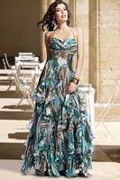 Camouflage Print Ruffle Evening Dress C25016 by BG Haute image