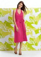 Halter Tea Length Dessy Alfred Sung Bridesmaid Dress D402 image