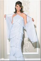 Petite Daymor Couture Chevron Layered Halter Evening Dress 703451 image
